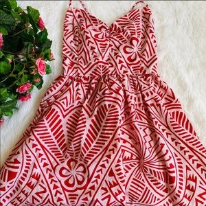 American Apparel Red White Patterned Summer Dress